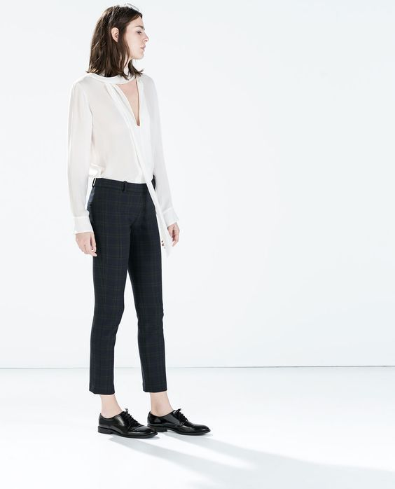 Zara Navy Check Legging Style Trousers - Beautiful Wardrobe 25b2001d960