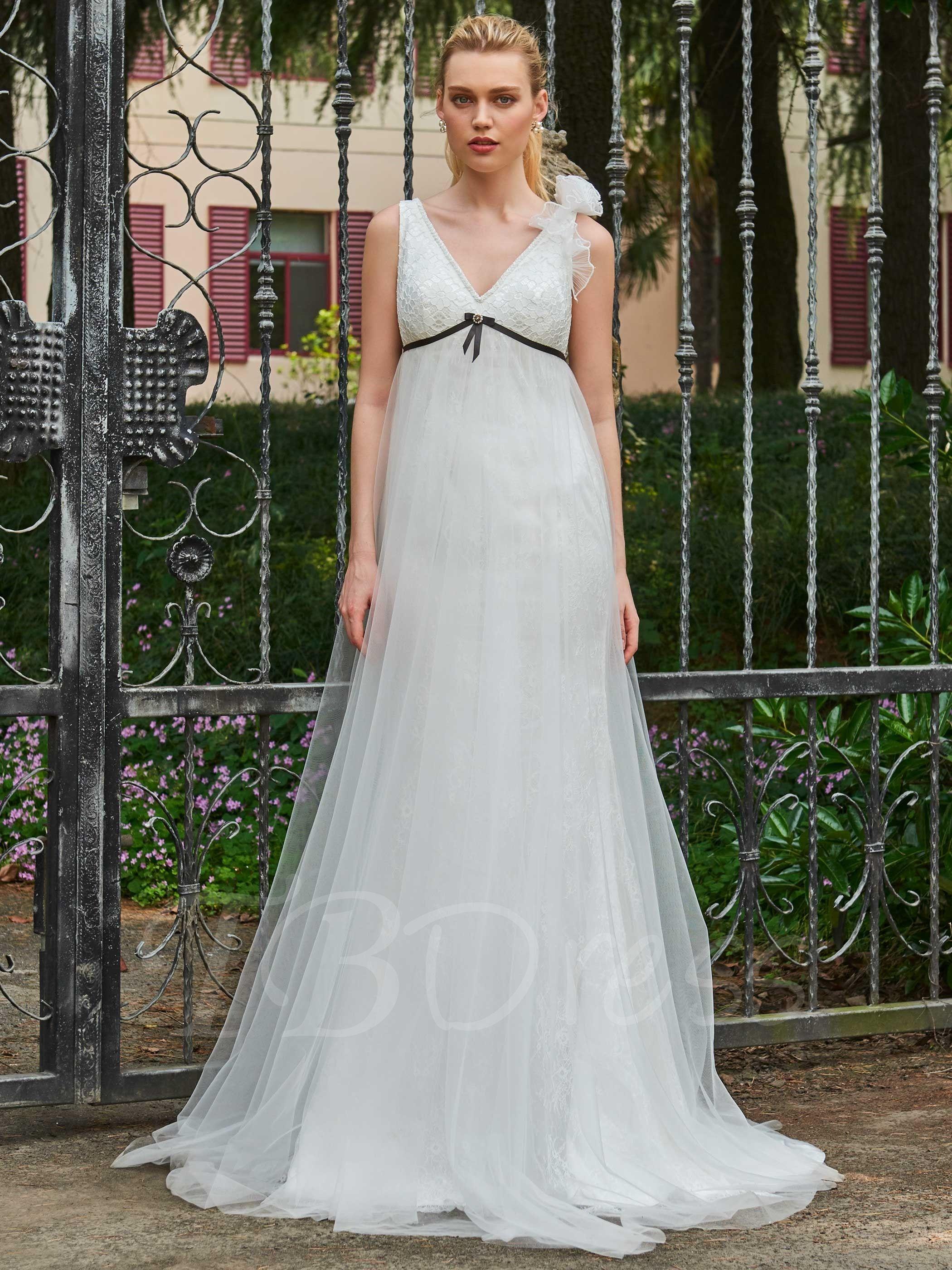 Empire Waist Lace Top ALine Plus Size Wedding Dress (With