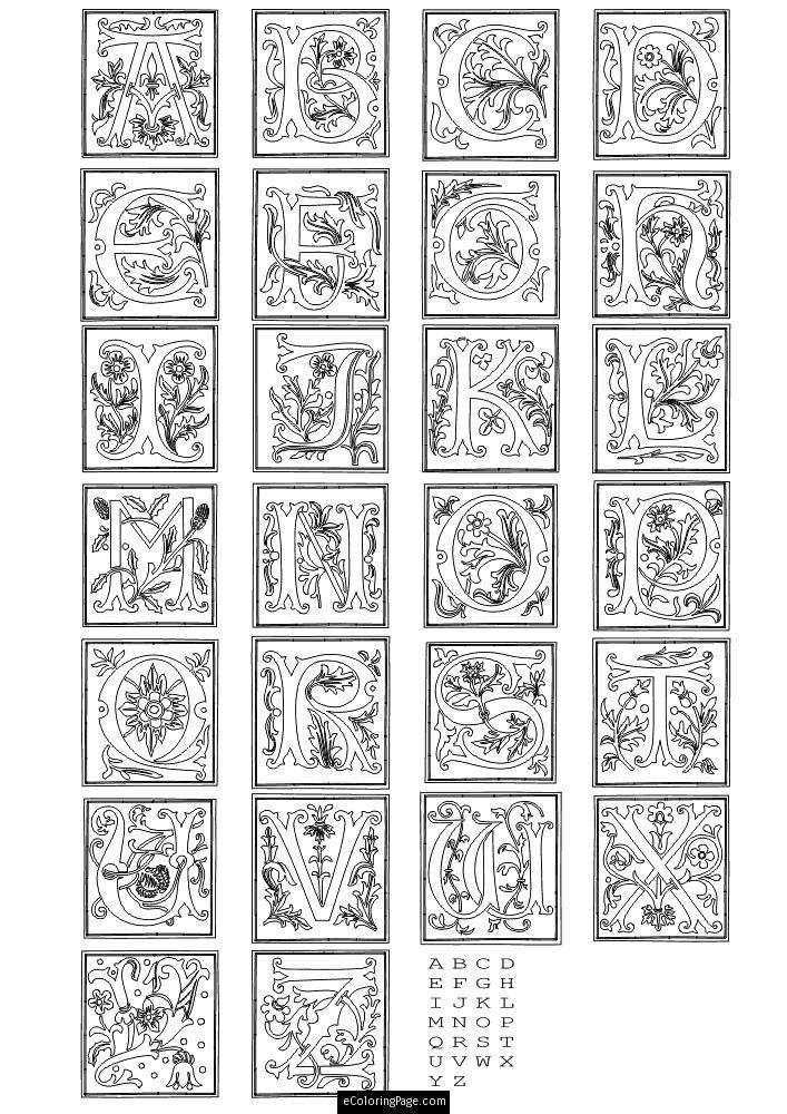 Learning ABCu0027s with Fancy Letters of the Alphabet Coloring Page for - best of medieval alphabet coloring pages