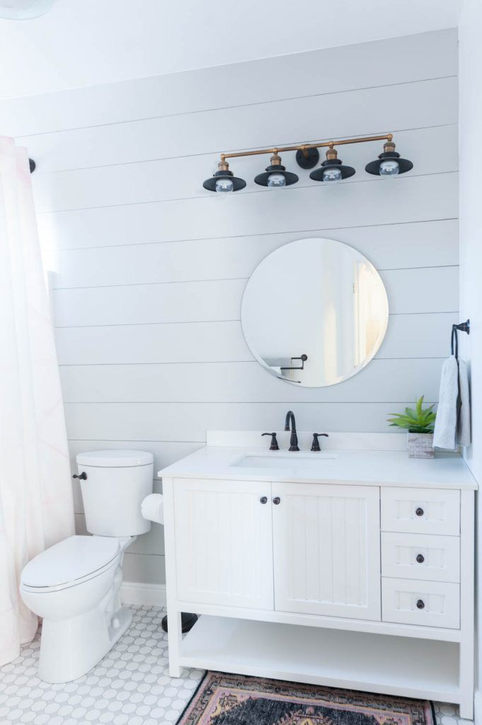 Grey and white bathroom renovation reveal gray modern farmhouse decor and modern farmhouse