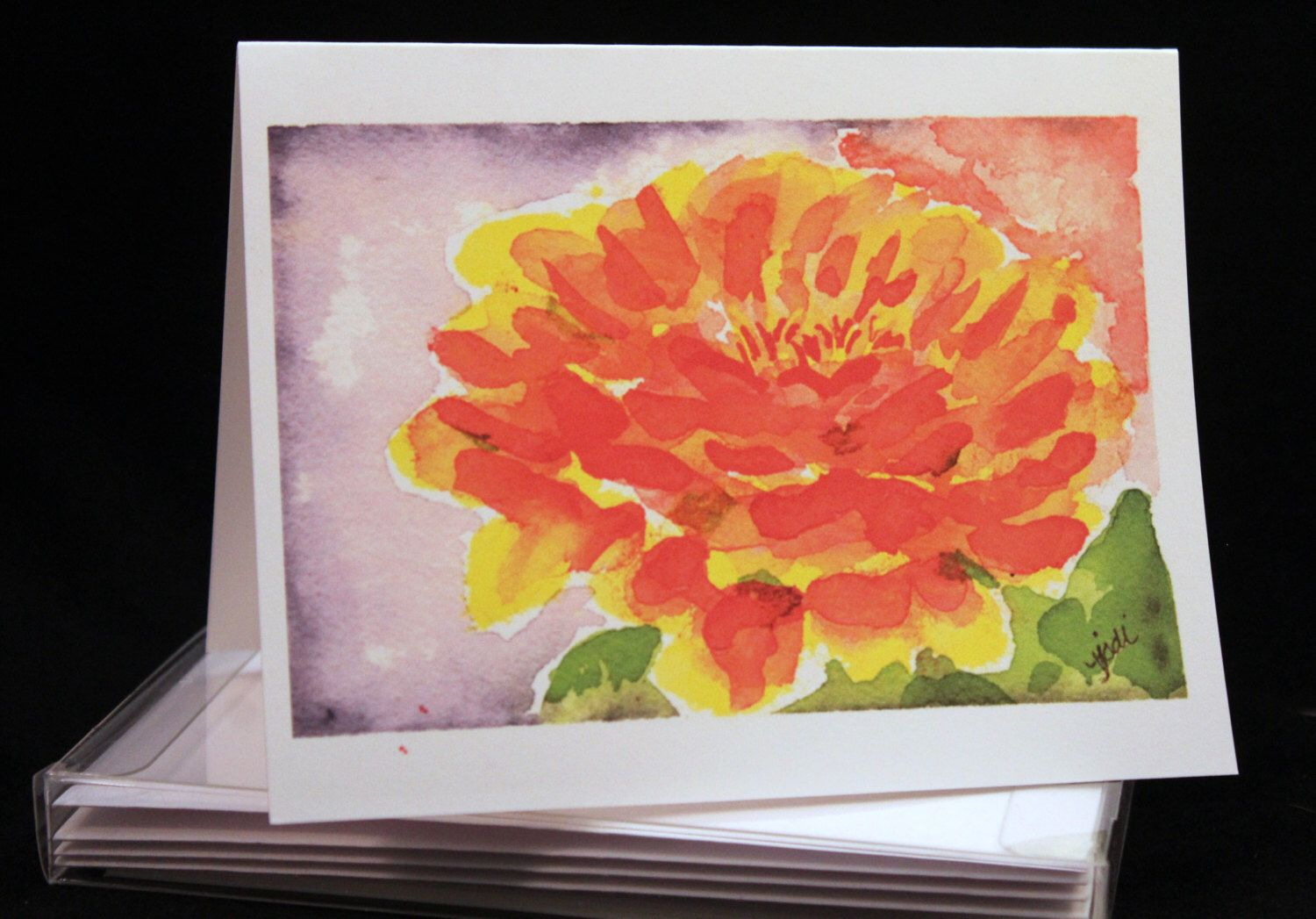 Set of Zinnia Original Watercolor PRINT- Greeting Cards/ Note Cards  (Set of four), Flower cards, Zinnias by McKinneyx2Designs on Etsy https://www.etsy.com/listing/466867969/set-of-zinnia-original-watercolor-print