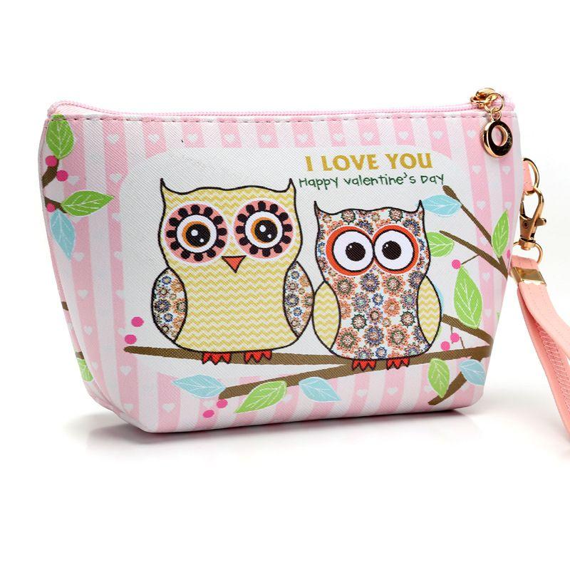 812515becb02 2017 Fashion Waterproof Cartoon Cosmetics Bag Make up Case Handmade Animal  Owl Women Travel Toiletry Makeup Wash Organizer tools