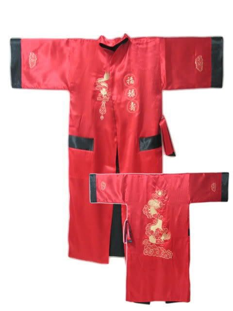 Red Reversible Two-face Chinese Men s Silk Satin Robe Kimono Embroidery Bath  Gown Dragon S0004 e1f36a1fb