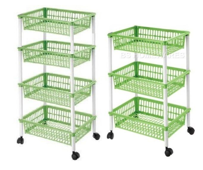 3,4 Tier Plastic Kitchen Storage Rack Fruit Vegetable Basket Trolley/ Wheels