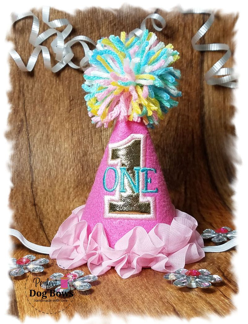 Dog Birthday Hat Pink Party Dogs First For By Perfectdogbows On Etsy