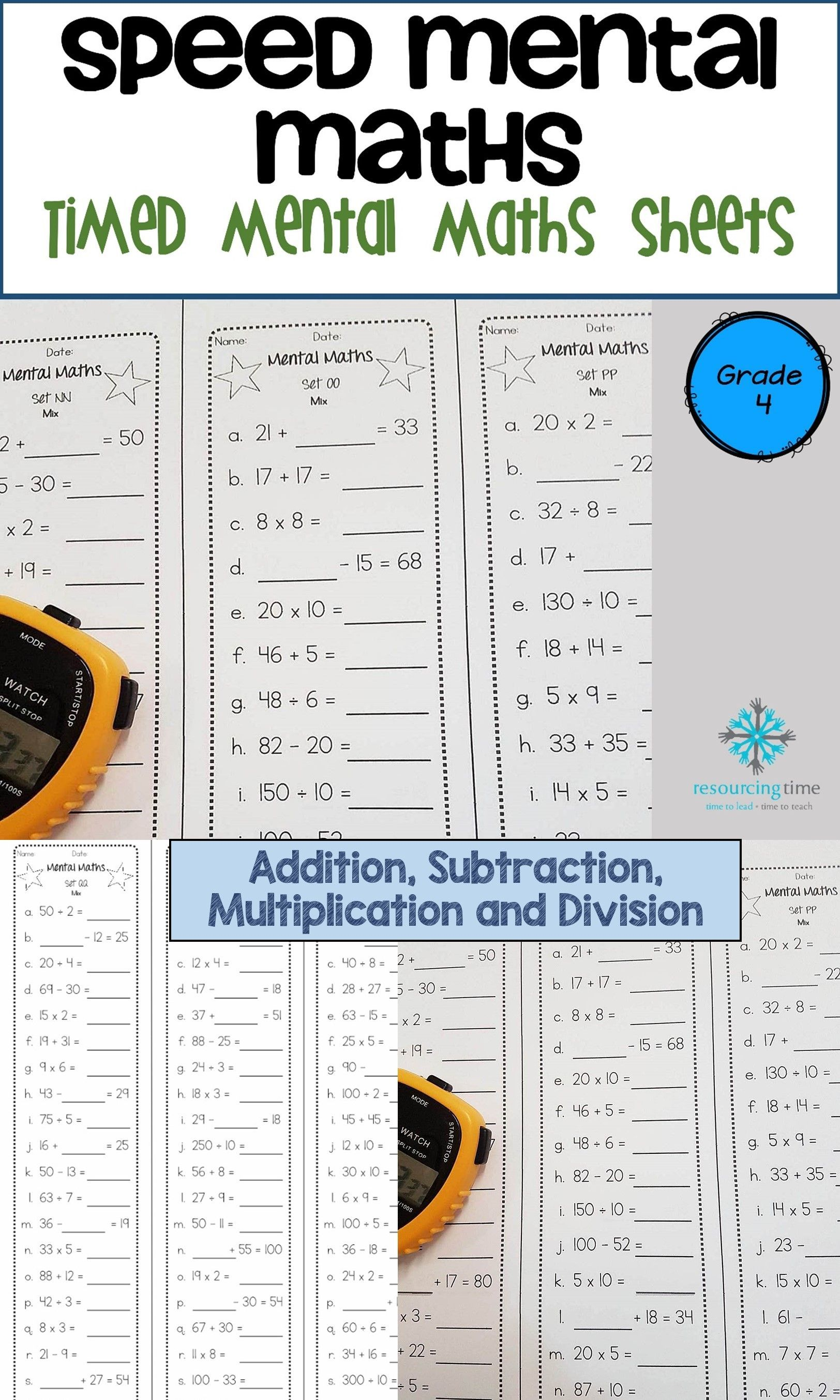 45 Mental Maths Sheets For Your Students To Increase Their Fluency And Accuracy With Addition Subtraction Multiplication And Divis Mental Math Math Prep Math Mental math addition activities