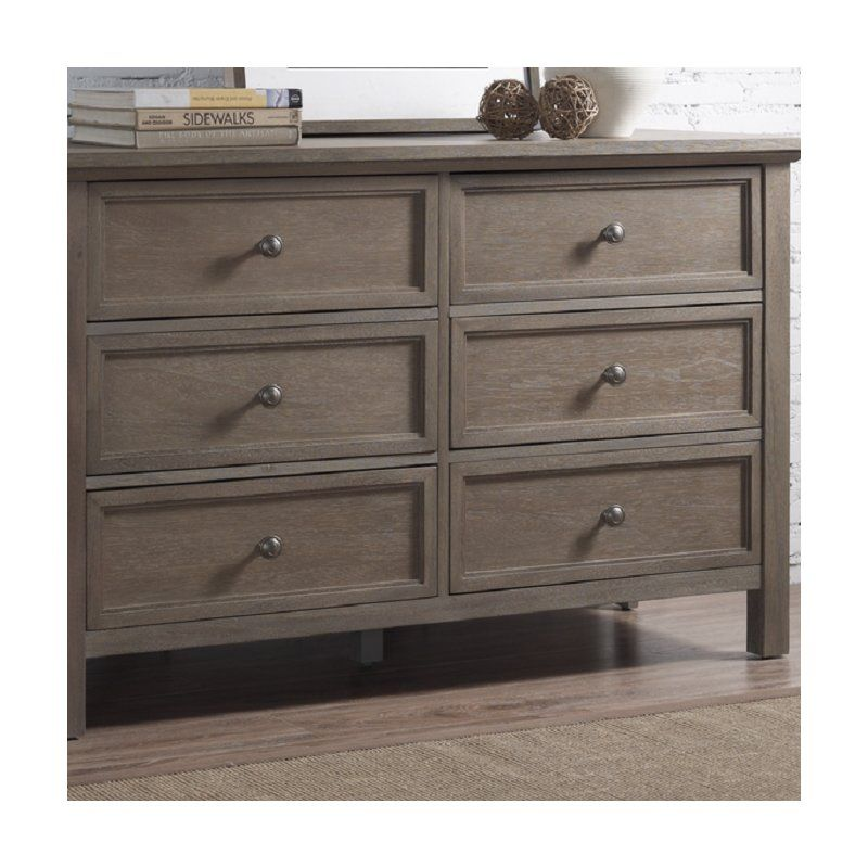 Runfine Group Rustic Collection All Wood Dresser Comes With 6 Large Drawers In A Stressed Reclaim