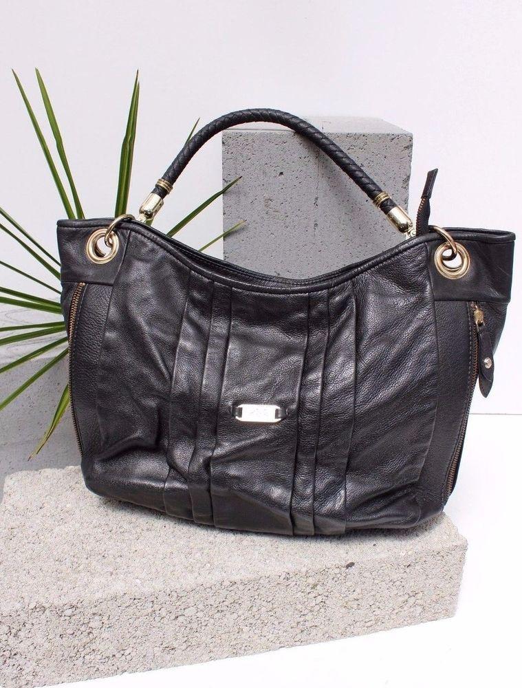 9f883c5a57 Ri2k Black Leather Hobo Tote Weekend Ladies Shoulder Bag Shopper Handbag  £189 #RI2K #ShoulderBag