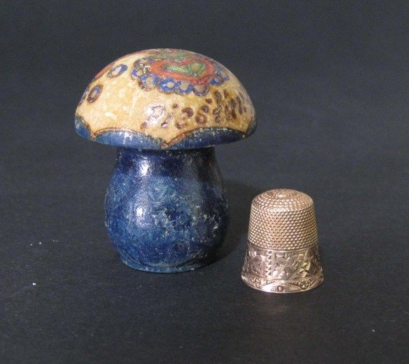 This little rose gold one lives inside the mushroom – obviously a souvenir from Piestany in Slovakia.