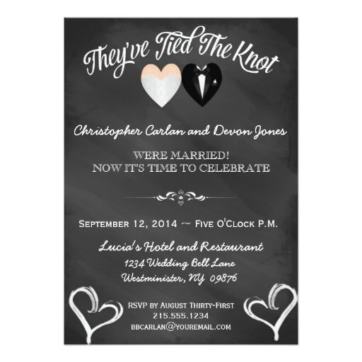 Post Wedding Trendy Chalkboard Invitation Chalkboard invitation