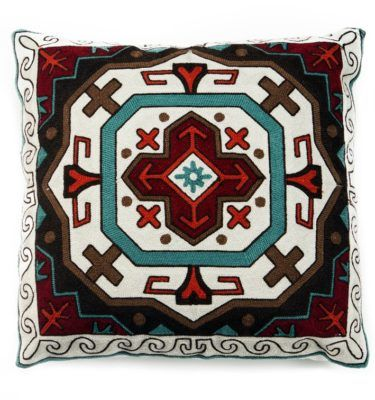 Sw Embroidered Shield Pillow Embroidered Throw Pillows