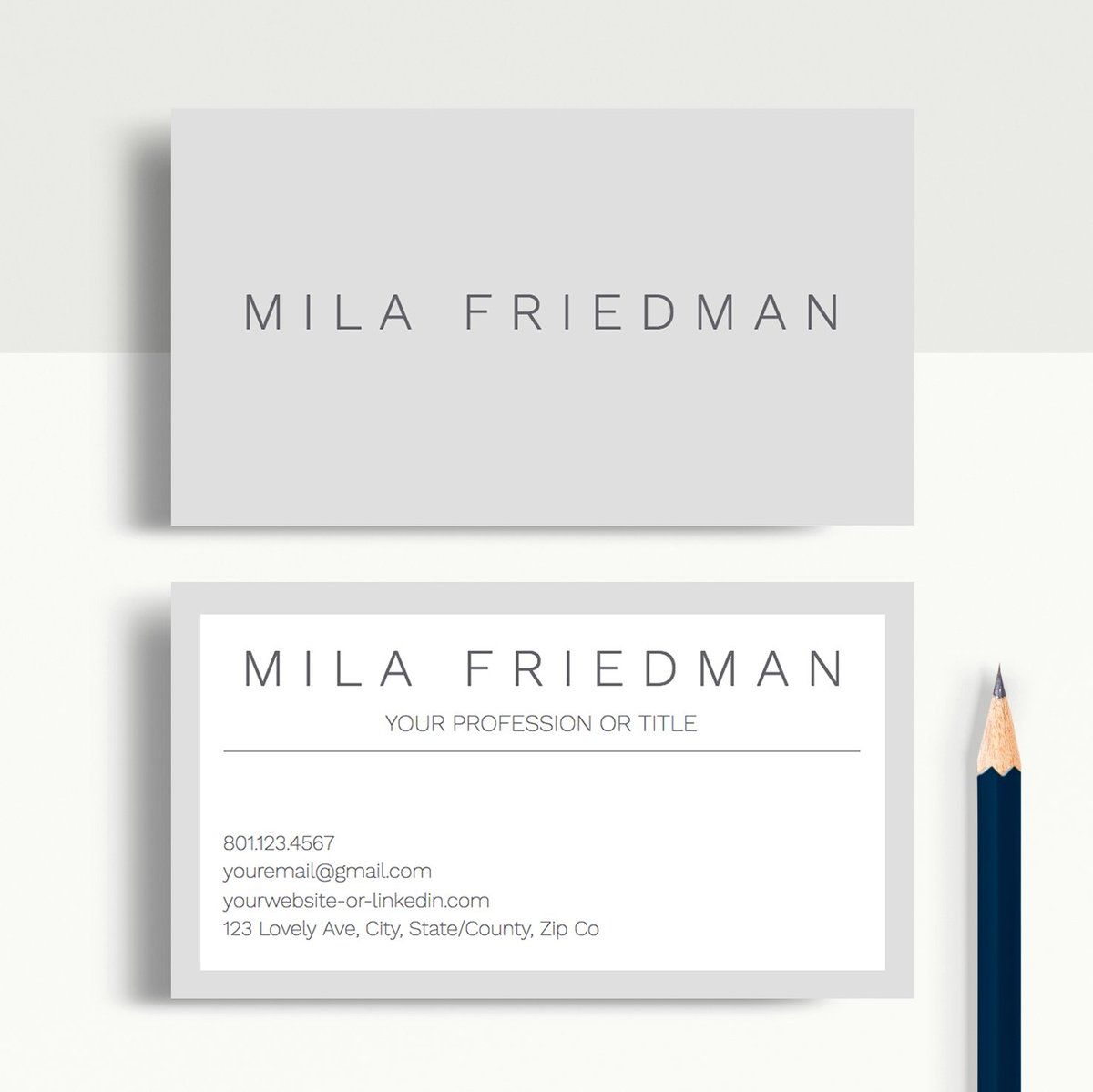 Mila Friedman Google Docs Professional Business Cards Template Professional Business Cards Professional Business Cards Templates Printable Business Cards