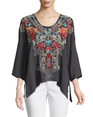 eb286b5795013 Johnny Was Valeria Embroidered V-Neck Blouse