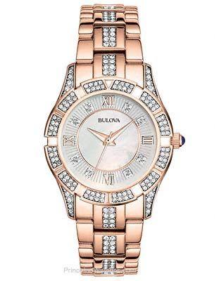 Bulova Ladies Rose Gold-Tone Crystal Dress Watch - Bracelet - Mother of Pearl
