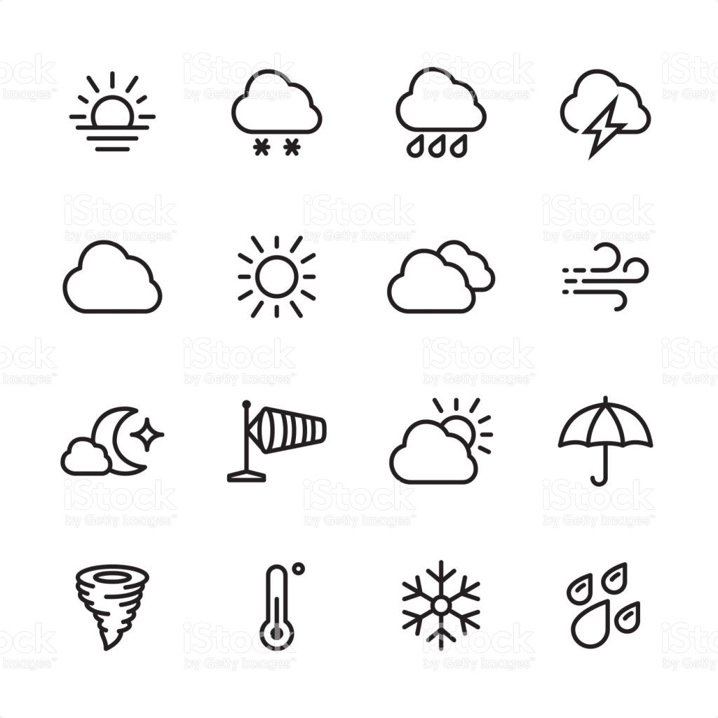 16 line black and white icons / Set / Weather
