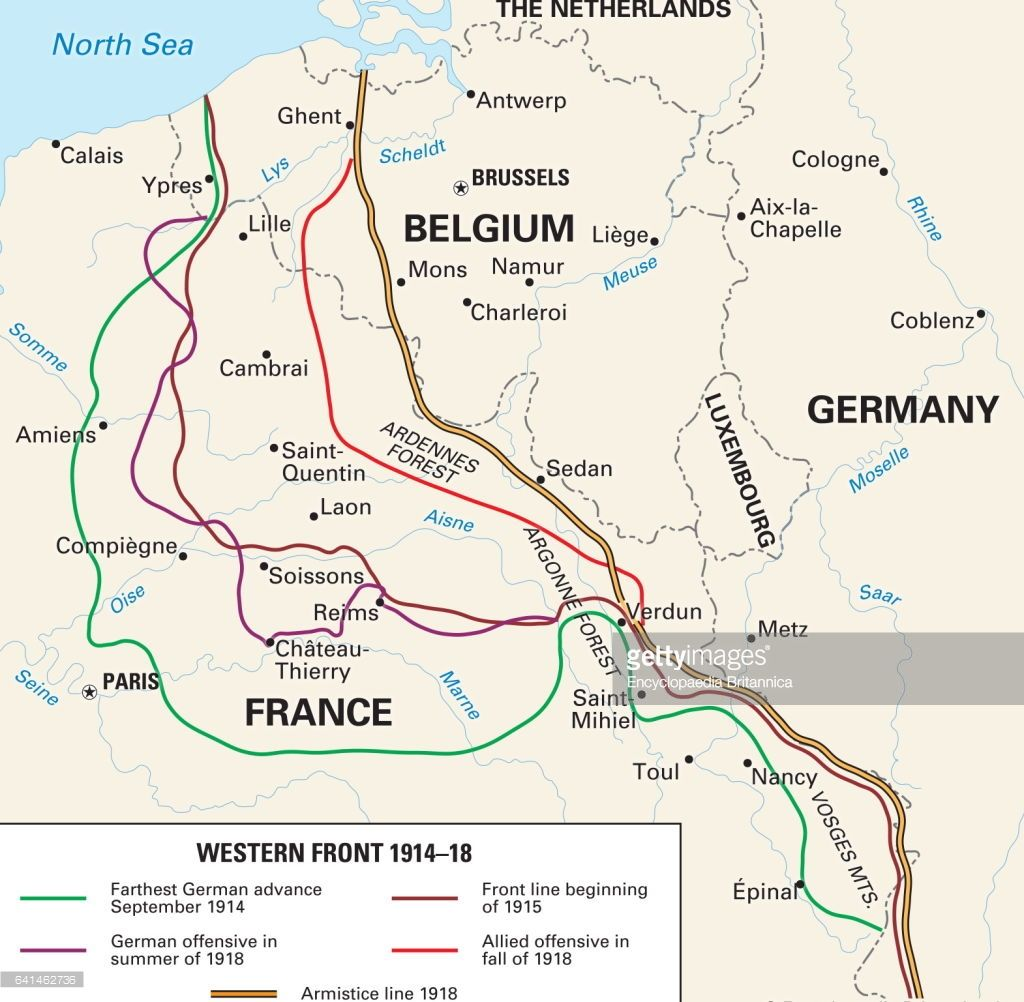 the western front 1914 18 historical map