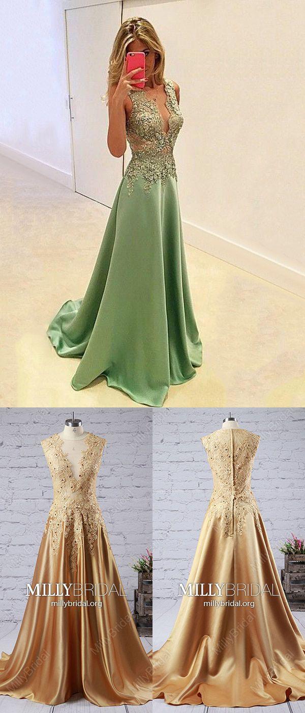 Modest long prom dresses greenaline formal evening dresses vneck