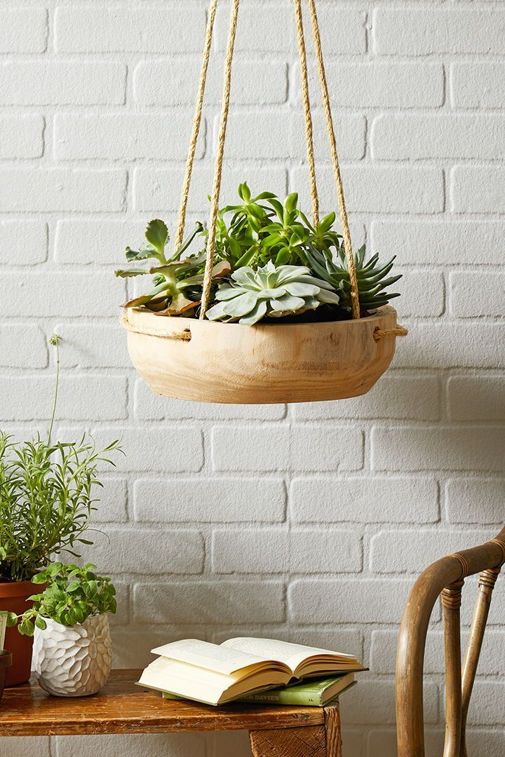 This wood bowl hanging planter will add an earthy vibe to your space