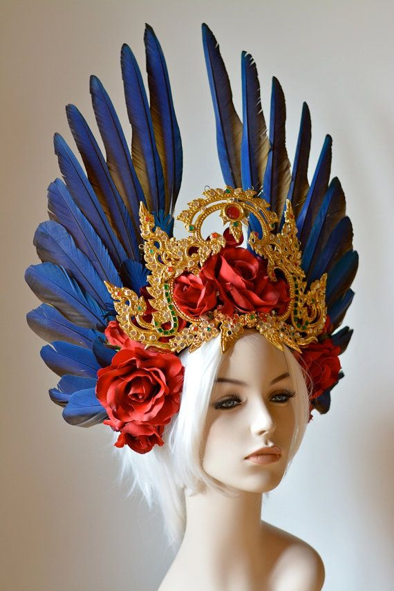 Kinaree Headdress blue macaw wing feathers red by Serpentfeathers