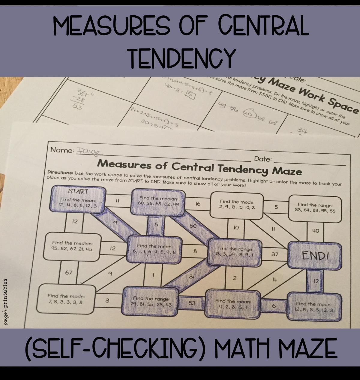 Measure Of Central Tendency Worksheet