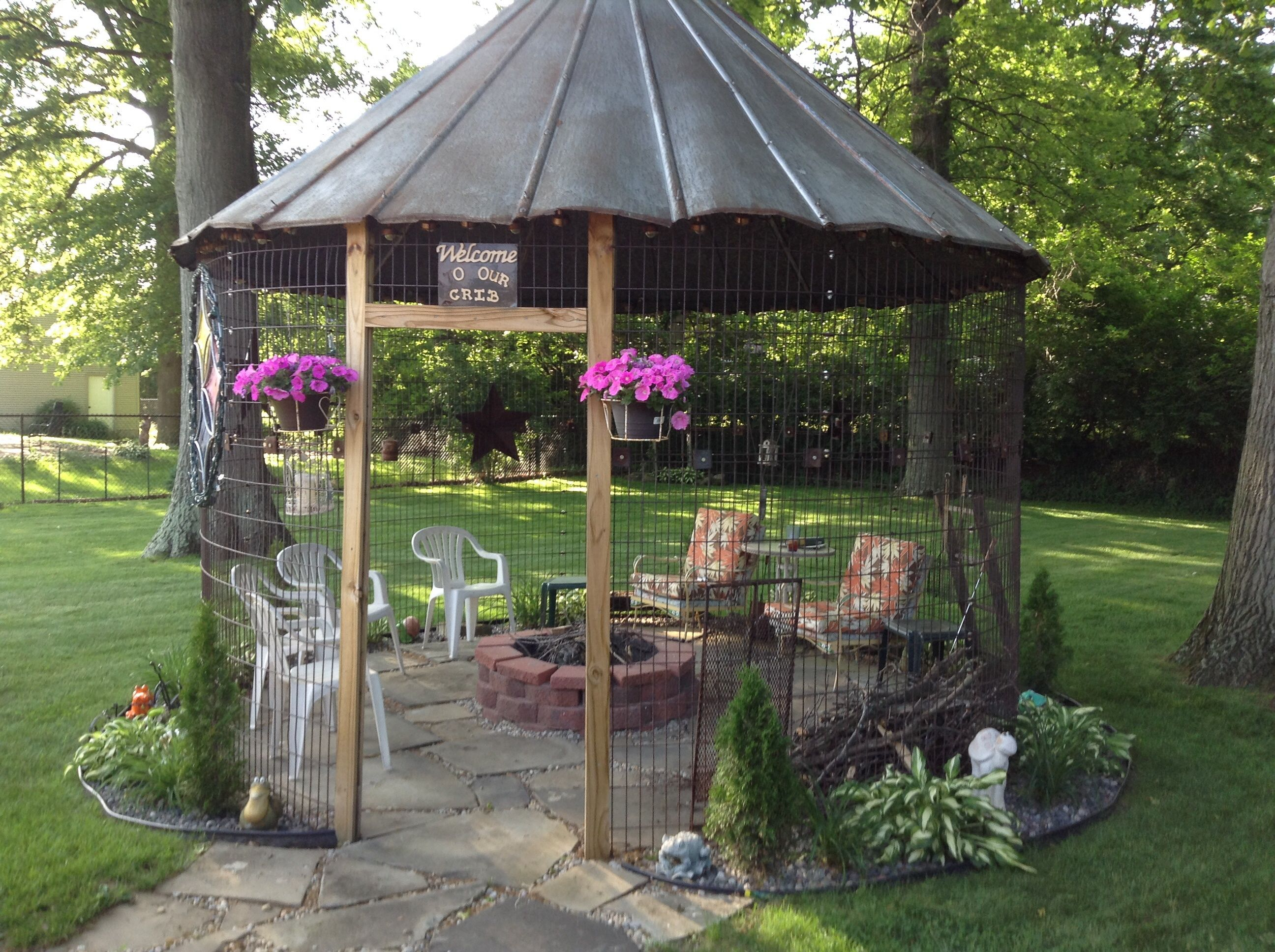 This Is Our Corn Crib With Fire Pit Inside Gazebo With Fire Pit