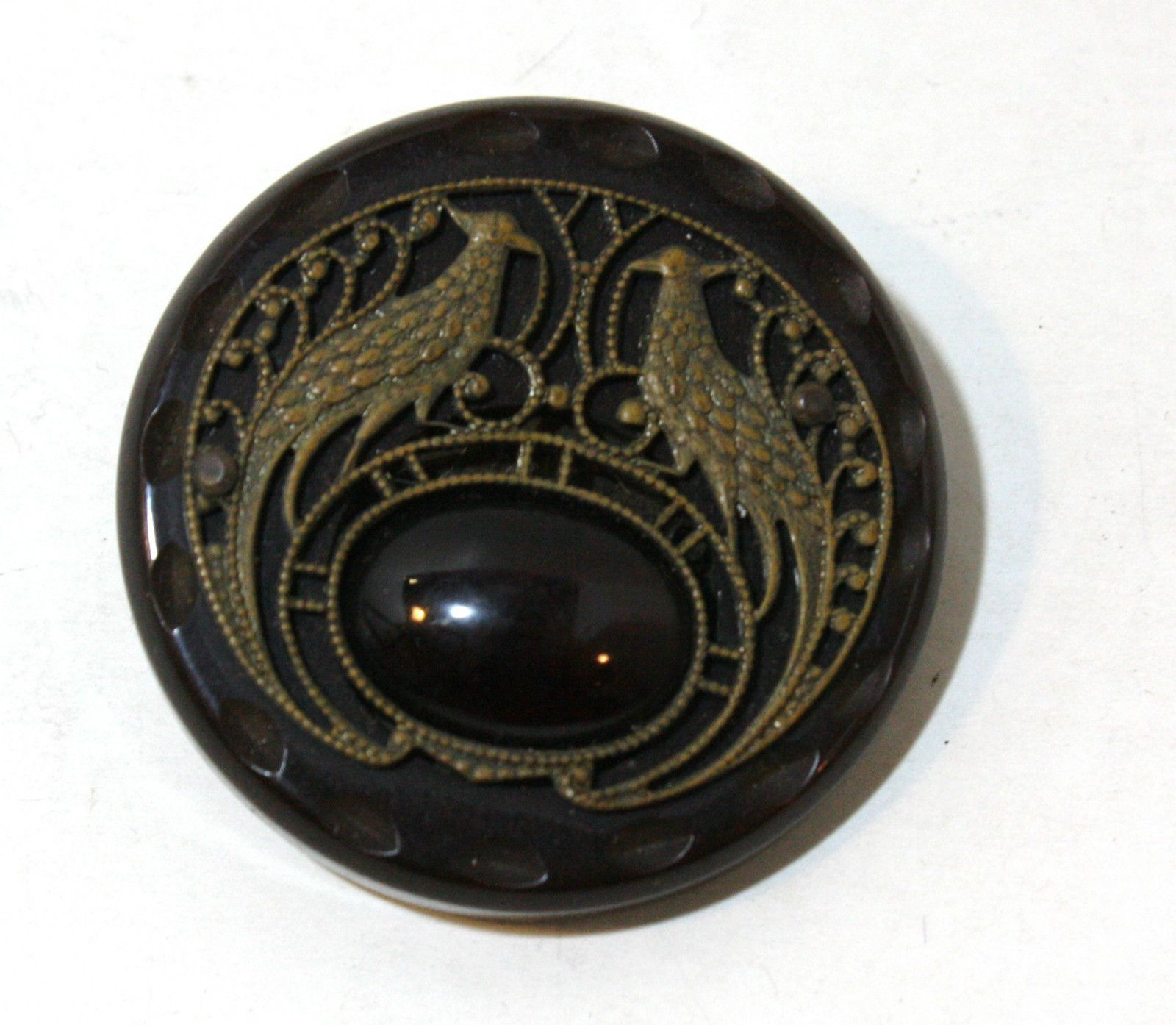 1920s Brass Filigree Art Nouveau Large Bakelite Buttons. Set of 2. ...Sold for $65