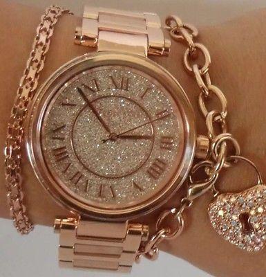 31e0b799b792 NWT MICHAEL KORS Skylar Rose Gold Swarovski Crystal Glitz 42mm Watch MK5868   350