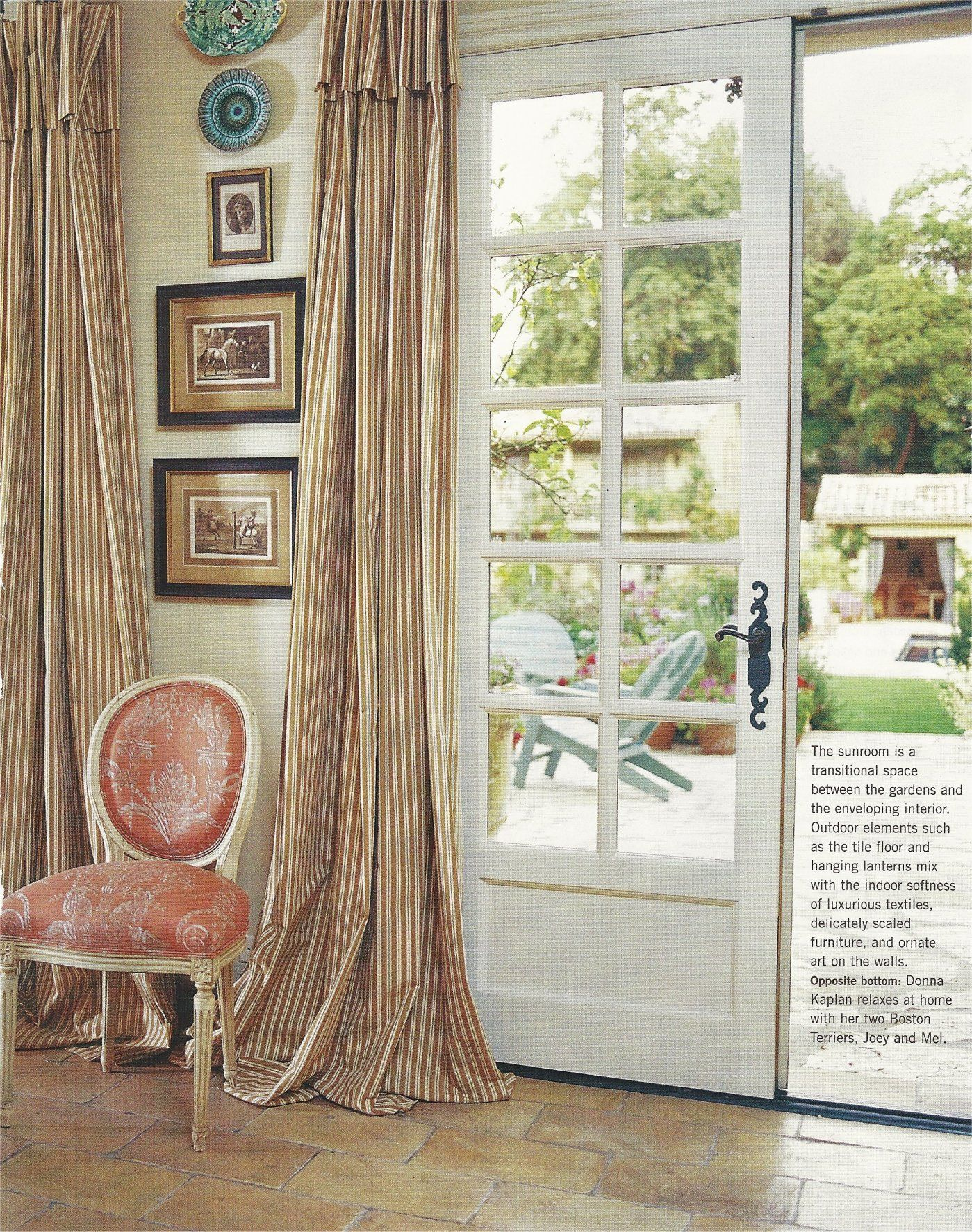 Ticking Curtains And Gorgeous French Doors