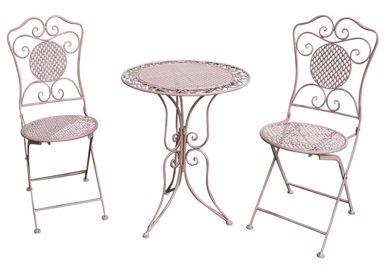 Gartenset Tisch 2 Stuhle Eisen Antik Stil Gartengarnitur Rosa