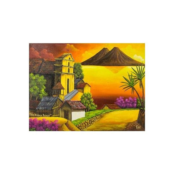 NOVICA Sunset Over Lake Atitlan Signed Painting Limited Edition ...