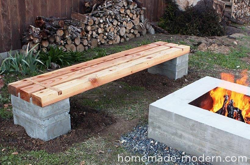 Magnifique banc du0027extérieur en béton et en bois très résistant et - banc en pierre pour jardin