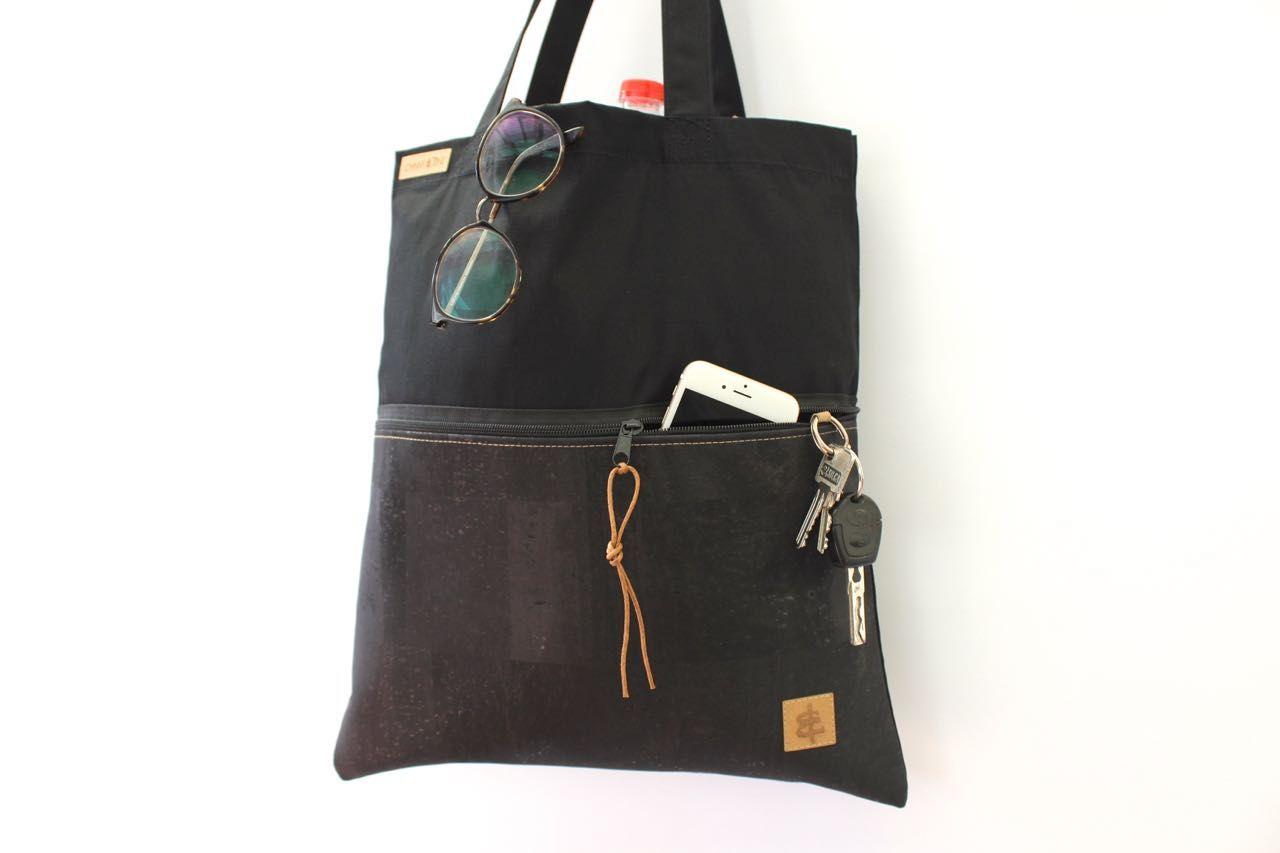 49d3368137ee7 Tasche schwarz Kork Shopper Herren Männer