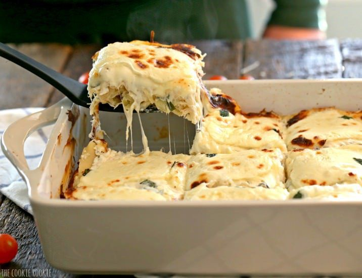 Creamy White Chicken Caprese Lasagna Stuffed With Mozzarella Cream
