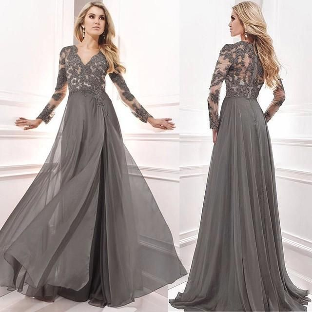 bae4b708bad8 2016 Mother Off Bride Dresses Plus Size Beaded Evening Gowns Dark Gray  Chiffon V Neck Long Sleeves Lace Applique Beads Women Prom Wear Mother Of  The Brides ...