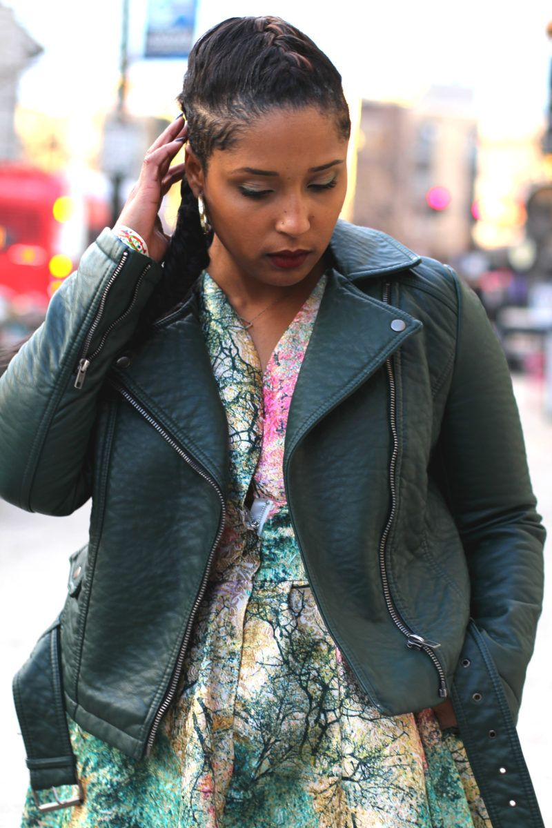 green leather jacket shaved sides long braid flirty dress biker jacket how to style