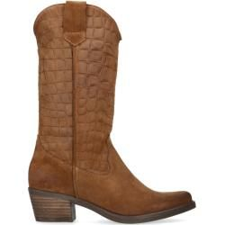 Photo of Cognacfarbene Cowboystiefel aus Veloursleder (36,37,38,39,40,41) Manfield