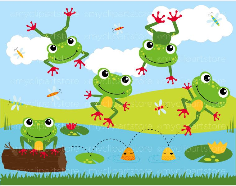Home Animals Bugs Clip Art Frog On A Log Lily Pads Clip Art
