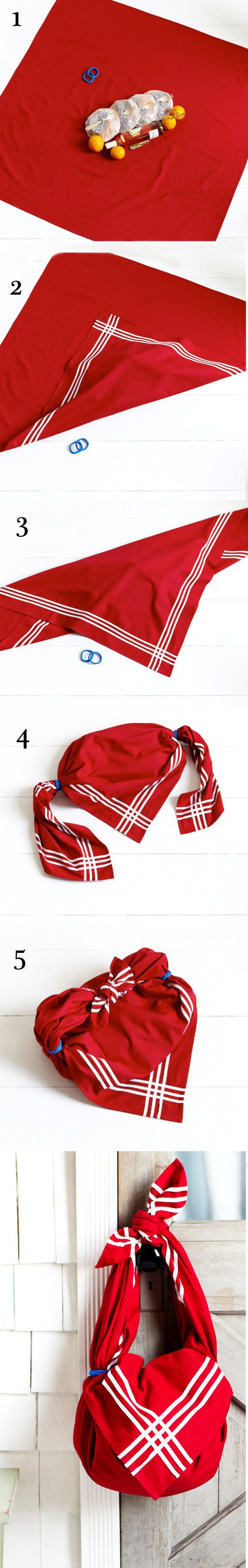 Take all your goodies to the picnic or the beach with this tablecloth tote! For the how-to steps visit www.onekingslane.com/live-love-home/2012/06/tablecloth-tote/