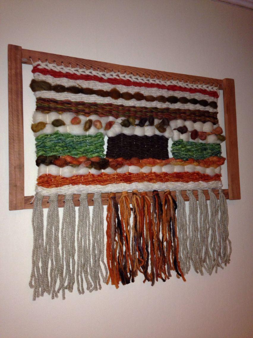 Telar decorativo enmarcado en alerce. Mis tejidos   Arte en lanas ...