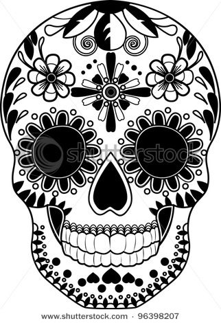 Gallery For > Sugar Skull Black And White Clip Art | Tats ...