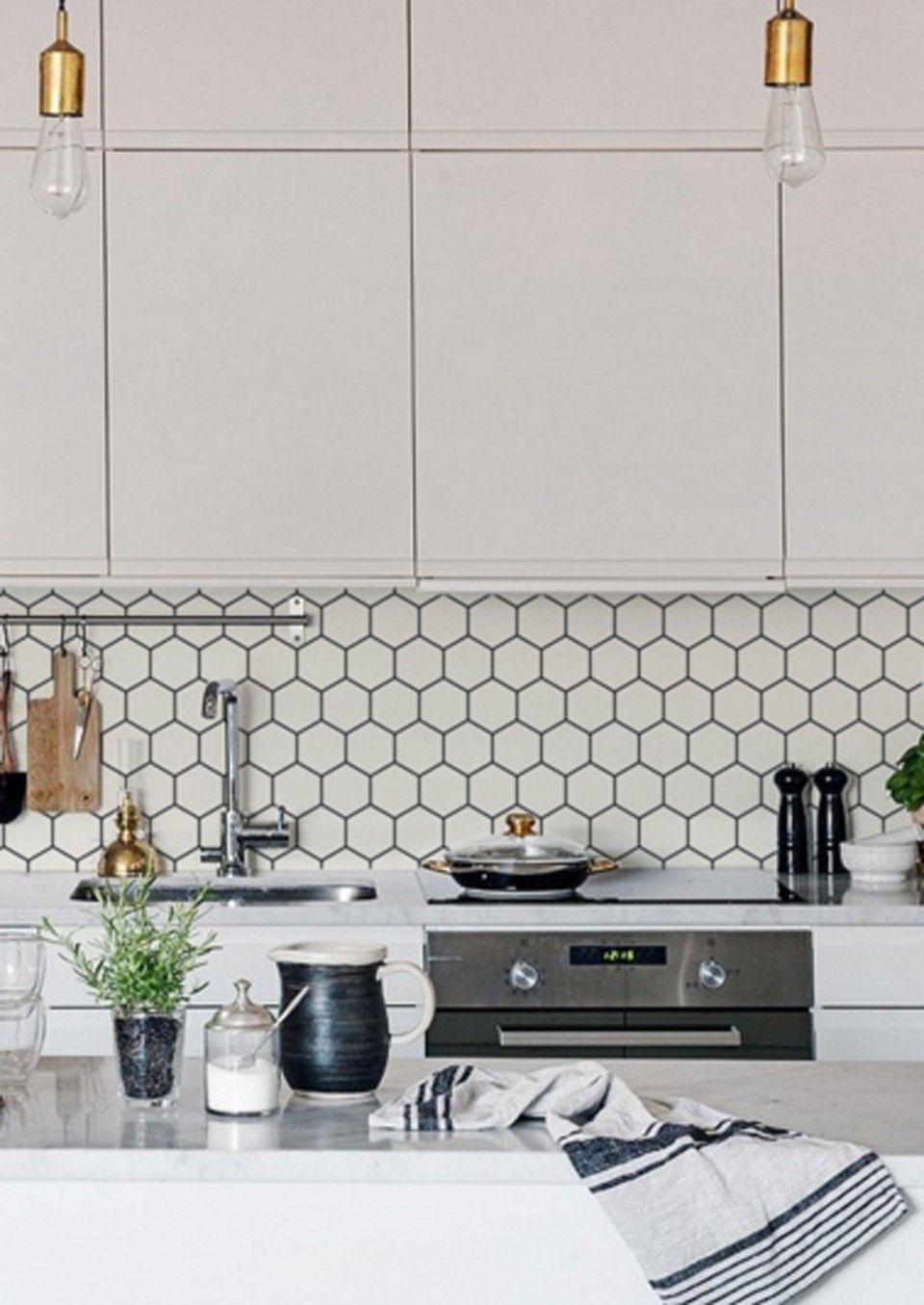 - Kitchen Wall Wallpaper - Hexagon Kitchen Feature Wall, Kitchen