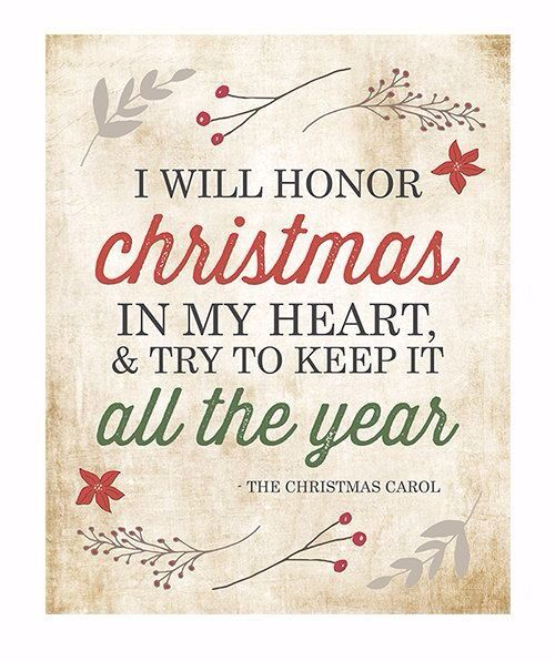 Charmant Christmas Wall Art Typography Print / I Will Honor Christmas Charles  Dickens Christmas Carol Quote / Holiday Decor / Red Green Retro Vintage.