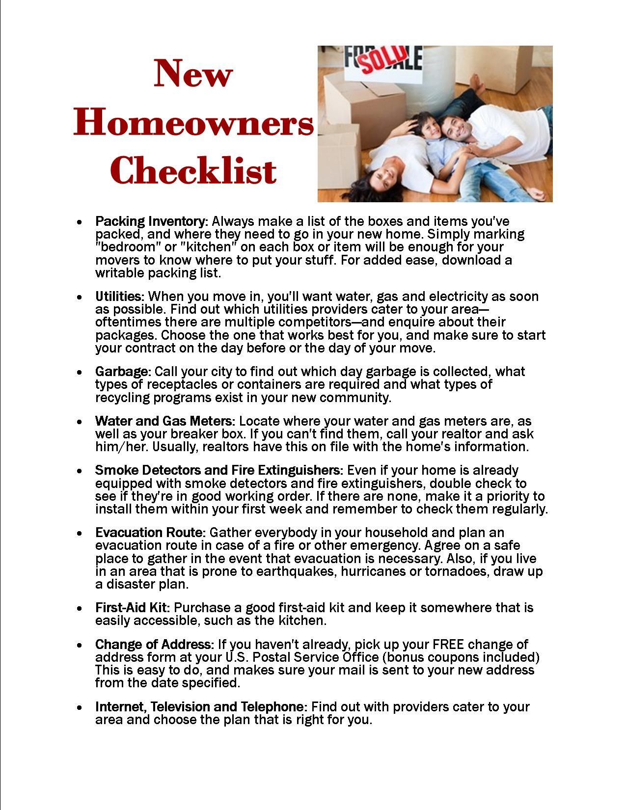 New Homeowner Checklist  Tips For First Time Home Buyers
