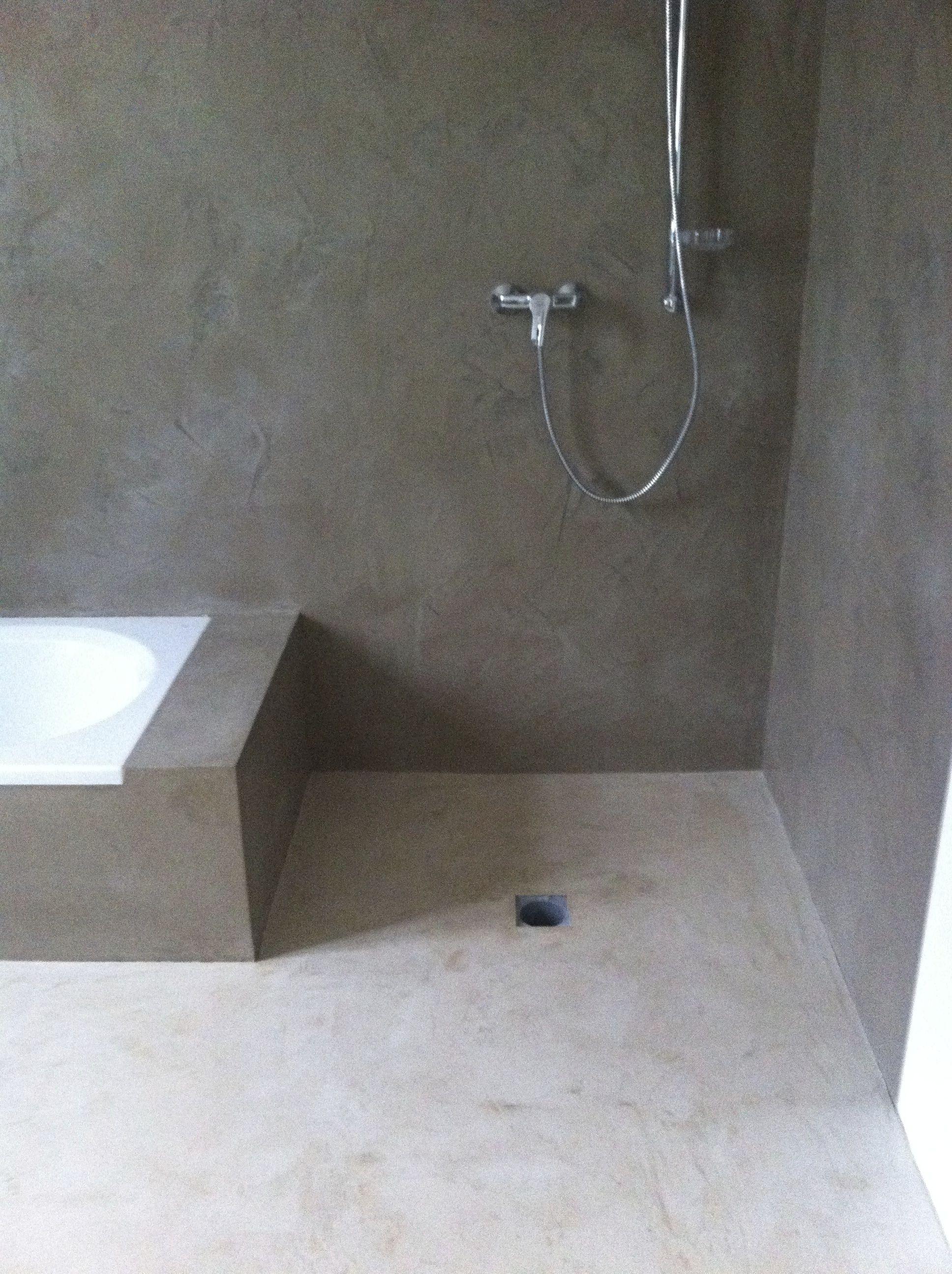 Boden Und Wand Beton Cire Original Work In Progress Material Uber Betoncire At Badezimmerboden Badezimmer Boden Badezimmer