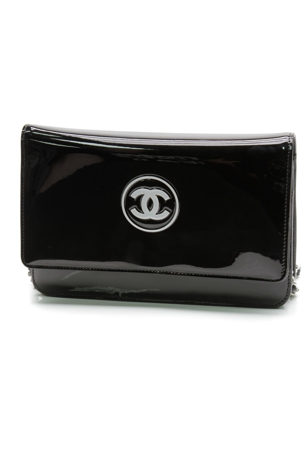 Chanel Black Patent Leather Signature CC Logo WOC Crossbody Bag ... 060d26e58d1a2