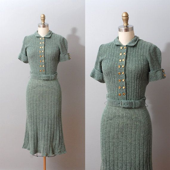 1940s Dress Sage Knit Sweater Dress 40s Dress Sweater Dress Knit Sweater Dress 1940s Dresses