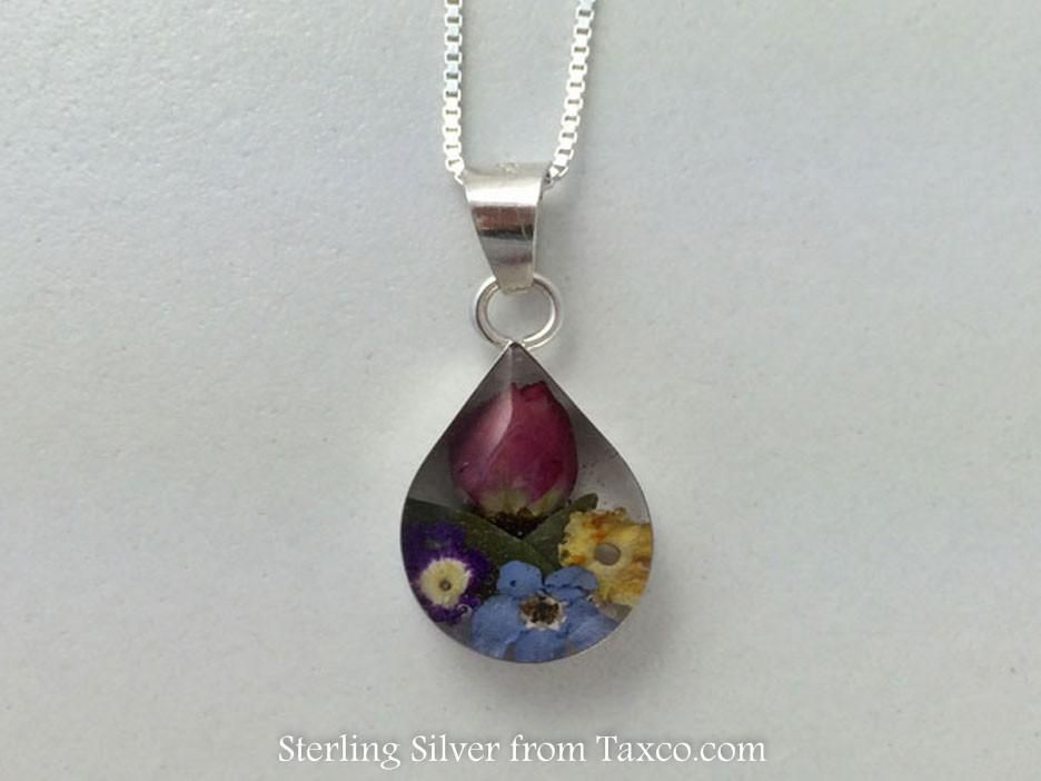 Small La Fleur Sterling Silver Pendant, Teardrop