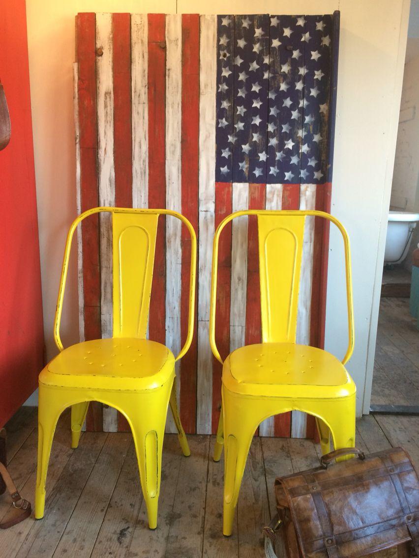 Stars n stripes metal chair Wood