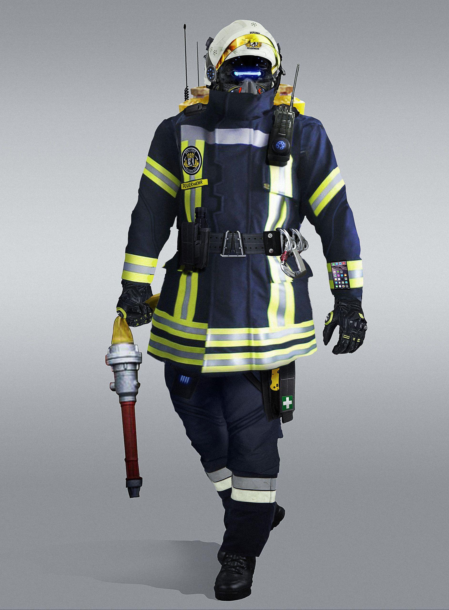 Artstation Futuristic Firefighters Marcel Benes Firefighter Futuristic Cyberpunk Fashion