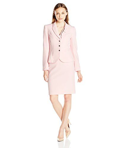 b372ade2e570 Tahari ASL Womens Petite Crepe Skirt Suit with Bow Pale Pink 10 ** Visit  the image link more details.(This is an Amazon affiliate link and I receive  a ...